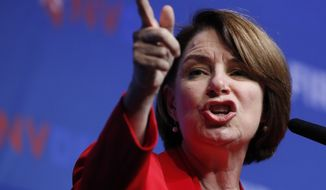 Democratic presidential candidate Sen. Amy Klobuchar, D-Minn., speaks during a fundraiser for the Nevada Democratic Party, Sunday, Nov. 17, 2019, in Las Vegas. (AP Photo/John Locher)