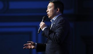 Democratic presidential candidate businessman Andrew Yang speaks during a fundraiser for the Nevada Democratic Party, Sunday, Nov. 17, 2019, in Las Vegas. (AP Photo/John Locher)