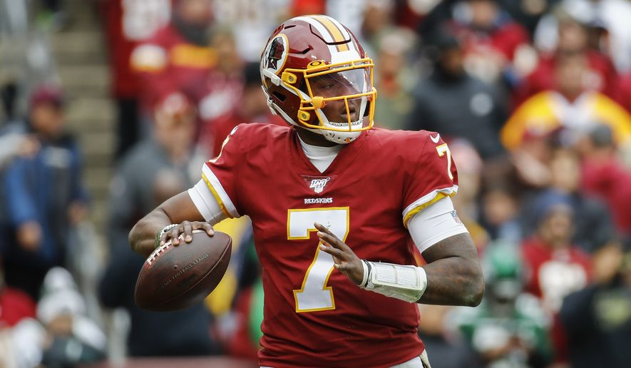 Washington Redskins quarterback Dwayne Haskins (7) looks to pass the ball during the first half of an NFL football game against the New York Jets, Sunday, Nov. 17, 2019, in Landover, Md. (AP Photo/Patrick Semansky) ** FILE **