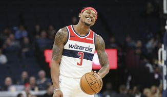 Washington Wizards' Bradley Beal plays against the Minnesota Timberwolves in an NBA basketball game Friday, Nov 15, 2019, in Minneapolis. (AP Photo/Jim Mone)