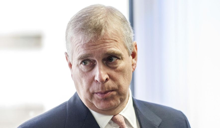 In this Monday, April 13, 2015, file photo, Britain's Prince Andrew visits the AkzoNobel Decorative Paints facility in Slough, England. (David Parker/Pool Photo via AP, File)