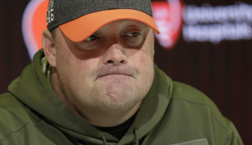 Cleveland Browns head coach Freddie Kitchens speaks at a news conference at the NFL football team's training camp facility, Monday, Nov. 18, 2019, in Berea, Ohio. Browns star defensive end Myles Garrett has not yet scheduled the appeal for his indefinite NFL suspension for striking Pittsburgh quarterback Mason Rudolph with a helmet.(AP Photo/Tony Dejak)