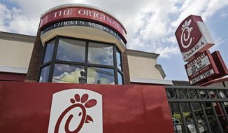 This July 19, 2012, file photo shows a Chick-fil-A fast-food restaurant in Atlanta. (AP Photo/Mike Stewart, File) **FILE**