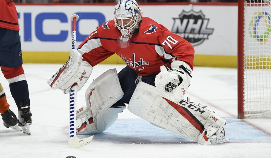 Washington Capitals goaltender Braden Holtby (70) watches the puck during the first period of an NHL hockey game against the Anaheim Ducks, Monday, Nov. 18, 2019, in Washington. (AP Photo/Nick Wass)