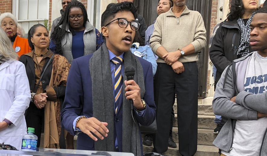 """Activist Justin Jones announces his primary challenge of Democratic U.S. Rep. Jim Cooper on Monday at Fisk University in Nashville, Tenn., Monday, Nov. 18, 2019. During Monday's news conference at historically black Fisk University, Jones lamented the """"same faces, the same names, doing the same old nothing for our community."""" (AP Photo/Jonathan Mattise)"""