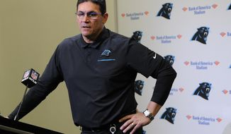 Carolina Panthers head coach Ron Rivera speaks to members of the media following an NFL football game against the Atlanta Falcons in Charlotte, N.C., Sunday, Nov. 17, 2019. (AP Photo/Mike McCarn)