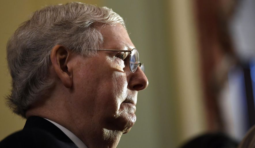 In this Nov. 5, 2019, photo Senate Majority Leader Mitch McConnell of Ky., listens as he speaks to reporters on Capitol Hill in Washington. (AP Photo/Susan Walsh) **FILE**