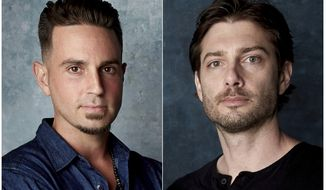 """In this combination photo, Wade Robson, left, and James Safechuck pose for a portrait to promote the film """"Leaving Neverland"""" during the Sundance Film Festival in Park City, Utah on  Jan. 24, 2019. A California appeals court is strongly inclined to give new life to lawsuits filed by Robson and James Safechuck who accuse Michael Jackson of molesting them when they were boys. In a tentative ruling Monday, the 2nd District Court of Appeal said lawsuits from the men should be reconsidered by the trial court that dismissed them in 2017. The decision is based on a new California law that gives sex abuse victims far longer to sue. (Photo by Taylor Jewell/Invision/AP)"""