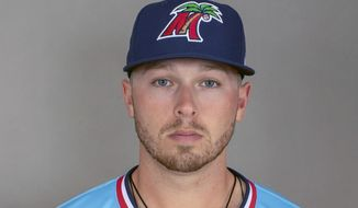 This 2019 photo provided by William Parmeter shows Fort Myers Miracle minor league baseball player Ryan Costello. Minnesota Twins prospect Ryan Costello was found dead in his New Zealand hotel room Monday, Nov. 18, 2019, days after joining a team in the Australian Baseball League The 23-year-old third baseman died in his sleep, the Auckland Tuatara said. No cause was given. Born in Hartford, Connecticut, Costello played minor league baseball for the Clinton Lumberjacks and later for the Fort Myers Miracle during their 2018 championship run. (William Parmeter via AP)