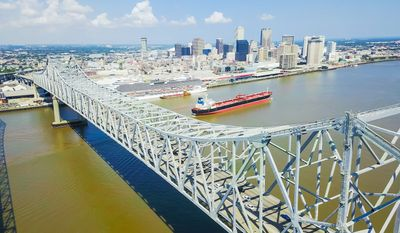 The Port of New Orleans and Crescent City Connection bridges.