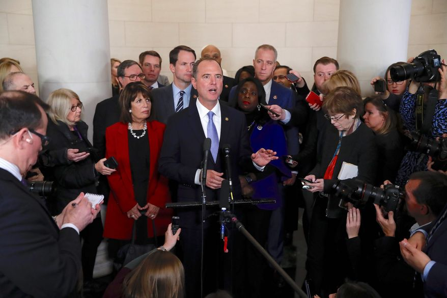 House Intelligence Committee Chairman Adam B. Schiff talks to the media after an impeachment hearing last week. Voters, meanwhile, say the hearings mean more to the press than to voters. (ASSOCIATED PRESS)
