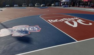 "Monumental Sports and Entertainment refurbished two basketball courts and a tennis court at the Ferebee Hope Recreation Center in Ward 8 of Washington, D.C. as part of its charitable ""Forward8"" campaign, on Tuesday, November 19, 2019. (Photo by Adam Zielonka / The Washington Times)"