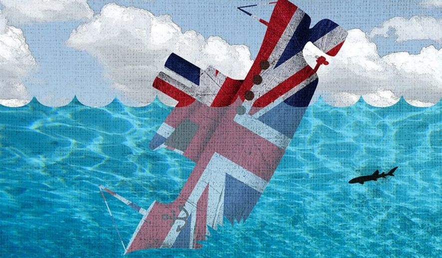 Brexit Sharks Illustration by Greg Groesch/The Washington Times