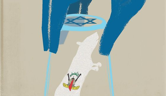 Illustration on the containment of PIJ by Israel by Linas Garsys/The Washington Times