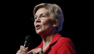 In this Nov. 17, 2019, photo, Democratic presidential candidate Sen. Elizabeth Warren, D-Mass., speaks during a fundraiser for the Nevada Democratic Party in Las Vegas. Warren has released a proposal to combat white nationalism that includes making prosecuting crimes committed by hate groups a top priority for the departments of Justice and Homeland Security. (AP Photo/John Locher)