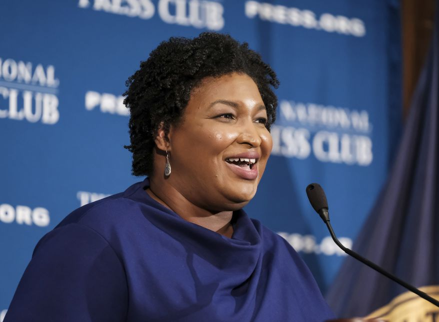 In this Nov. 15, 2019, photo, former Georgia House Democratic Leader Stacey Abrams, speaks at the National Press Club in Washington. (AP Photo/Michael A. McCoy)