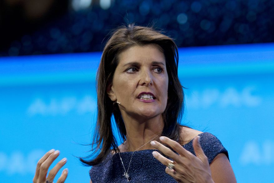 In this March 25, 2019, file photo, former Ambassador to the U.N. Nikki Haley, speaks at the 2019 American Israel Public Affairs Committee (AIPAC) policy conference in Washington. (AP Photo/Jose Luis Magana, File)