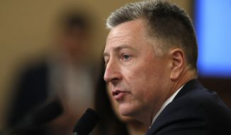 Ambassador Kurt Volker, former special envoy to Ukraine testifies before the House Intelligence Committee on Capitol Hill in Washington, Tuesday, Nov. 19, 2019, during a public impeachment hearing of President Donald Trump's efforts to tie U.S. aid for Ukraine to investigations of his political opponents. (AP Photo/Alex Brandon)
