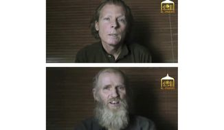This two-photo combination image taken from video released June 21, 2017, by the Taliban spokesman Zabihullah Mujahid, shows kidnapped teachers Australian Timothy Weekes, top, and American Kevin King, who were both abducted by the insurgents in Afghanistan in August 2016. Three ranking Taliban prisoners released by the Kabul government have been flown to Qatar for an expected swap for the American and the Australian hostage held by the insurgents since their abduction in 2016, Taliban officials said Tuesday, Nov. 19, 2019. (EL-EMARA Taliban via AP, File)