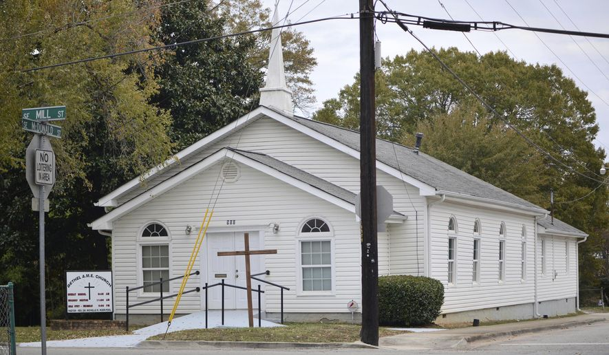 This Nov. 19, 2019 photo shows the Bethel African Methodist Episcopal Church in Gainesville, Ga. A white 16-year-old girl is accused of plotting to attack a mostly black church in Gainesville, where police say she planned to kill worshippers because of their race. (Nick Bowman/ Gainesville Times via AP)
