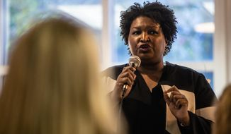 Politician and author Stacey Abrams speaks to an audience about voter supresssion on Tuesday, Nov. 19, 2019, in Atlanta. Abrams spoke during a roundtable summit as one in a series of events leading up athe Democratic debate to be held in Atlanta. Abrams' failed bid for Georgia's governor's seat was highlighted by allegations of voter suppression. (AP Photo/ Ron Harris)
