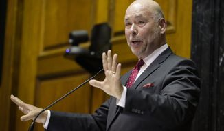 Republican Indiana House Speaker Brian Bosma announces at the Statehouse in Indianapolis, that he will step down as speaker following the 2020 legislative session and not seek reelection, Tuesday, Nov. 19, 2019. (AP Photo/Michael Conroy)