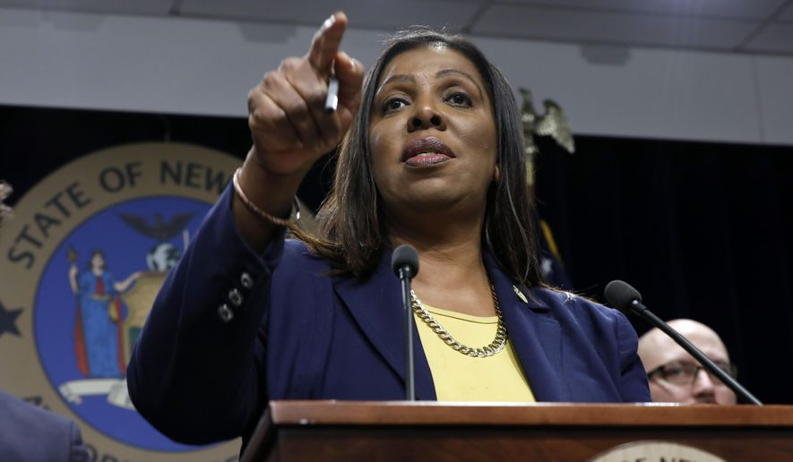 New York State Attorney General Letitia James speaks during a news conference at her office in New York, Tuesday, Nov. 19, 2019. (AP Photo/Richard Drew) ** FILE **