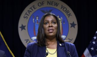 New York State Attorney General Letitia James speaks during a news conference at her office in New York, Tuesday, Nov. 19, 2019. New York has joined the ranks of states suing the nation's biggest e-cigarette maker, San Francisco based JUUL Labs. (AP Photo/Richard Drew)