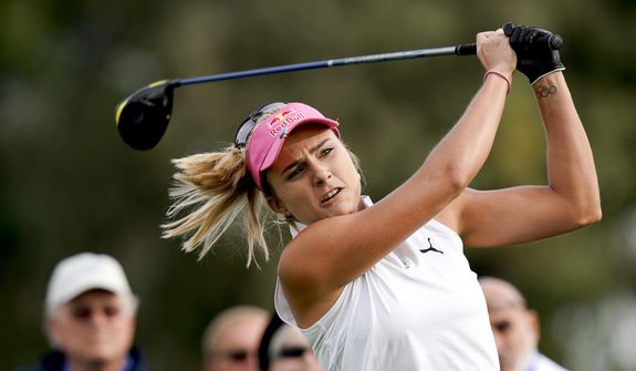 In this Thursday, April 4, 2019 file photo, Lexi Thompson hits her tee shot on the second hole during the first round of the LPGA Tour ANA Inspiration golf tournament at Mission Hills Country Club in Rancho Mirage, Calif. Thompson has gone five years since her only major title. (AP Photo/Chris Carlson, File) **FILE**