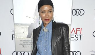 """FILE - This Nov. 18, 2019 file photo shows Jada Pinkett Smith at the premiere of """"Hala"""" at 2019 AFI Fest in Los Angeles. Pinkett Smith says she's very comfortable sharing personal information on her show """"Red Table Talk,"""" and she says she expects to do a lot more in future episodes. (Photo by Richard Shotwell/Invision/AP, File)"""