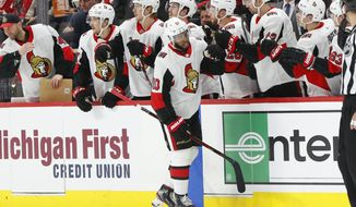 Ottawa Senators left wing Anthony Duclair (10) celebrates his goal against the Detroit Red Wings during the second period of an NHL hockey game Tuesday, Nov. 19, 2019, in Detroit. (AP Photo/Paul Sancya)
