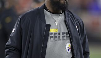 Pittsburgh Steelers coach Mike Tomlin watches during the first half of the team's NFL football game against the Cleveland Browns, Thursday, Nov. 14, 2019, in Cleveland. (AP Photo/Ron Schwane)