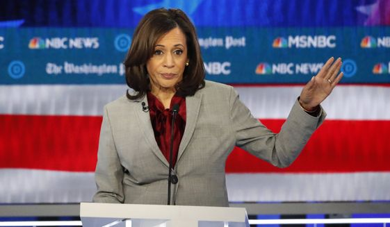 Democratic presidential candidate Sen. Kamala Harris, D-Calif., speaks during a Democratic presidential primary debate, Wednesday, Nov. 20, 2019, in Atlanta. (AP Photo/John Bazemore)