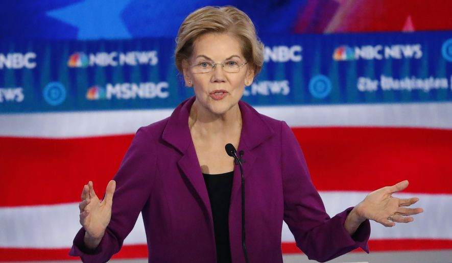 Democratic presidential candidate Sen. Elizabeth Warren, D-Mass., speaks during a Democratic presidential primary debate, Wednesday, Nov. 20, 2019, in Atlanta. (AP Photo/John Bazemore)