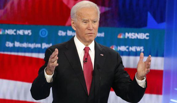 Democratic presidential candidate former Vice President Joe Biden speaks during a Democratic presidential primary debate, Wednesday, Nov. 20, 2019, in Atlanta. (AP Photo/John Bazemore)