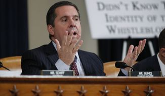 Rep. Devin Nunes, R-Calif, the ranking member of the House Intelligence Committee, questions U.S. Ambassador to the European Union Gordon Sondland as he testifies before the House Intelligence Committee on Capitol Hill in Washington, Wednesday, Nov. 20, 2019, during a public impeachment hearing of President Donald Trump's efforts to tie U.S. aid for Ukraine to investigations of his political opponents. (AP Photo/Alex Brandon)