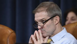 Rep. Jim Jordan, R-Ohio, listens to questioning of U.S. Ambassador to the European Union Gordon Sondland before the House Intelligence Committee on Capitol Hill in Washington, Wednesday, Nov. 20, 2019, during a public impeachment hearing of President Donald Trump's efforts to tie U.S. aid for Ukraine to investigations of his political opponents. (AP Photo/Susan Walsh)