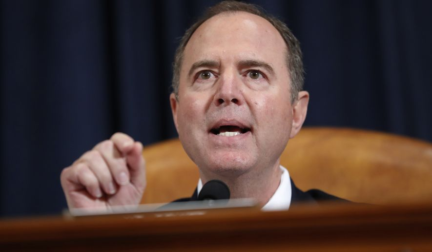 House Intelligence Committee Chairman Adam Schiff, D-Calif., gives his closing statement during the hearing with U.S. Ambassador to the European Union Gordon Sondland before the House Intelligence Committee on Capitol Hill in Washington, Wednesday, Nov. 20, 2019. (AP Photo/Andrew Harnik)