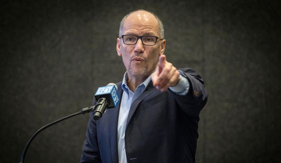 Tom Perez, chair of the Democratic National Committee, address the audience during a speech on Wednesday, Nov. 20, 2019, in Atlanta. Perez spoke about efforts to combat voter suppression at a talk in Atlanta on the week the city was to play host to the Democratic presidential candidates debate. (AP Photo/ Ron Harris)