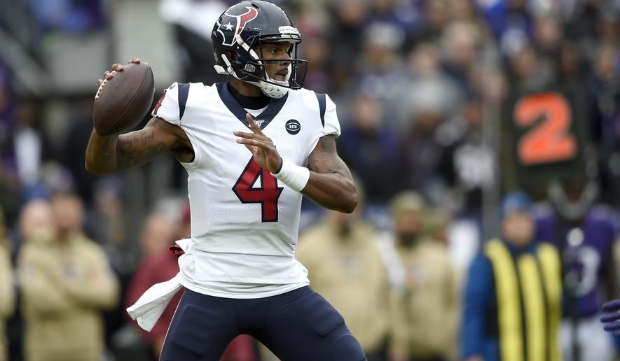 Houston Texans quarterback Deshaun Watson throws a pass against the Baltimore Ravens during the first half of an NFL football game, Sunday, Nov. 17, 2019, in Baltimore. (AP Photo/Gail Burton)