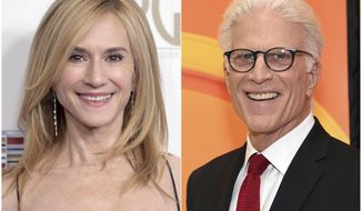 This combination photo shows actress Holly Hunter at the 29th annual Producers Guild Awards in Beverly Hills, Calif., on Jan. 20, 2018, left, and actor Ted Danson at the NBC 2019/2020 Upfront in New York on May 13, 2019. NBC announced that Hunter and Danson will star in a comedy set in the world of local politics.  (AP Photo)