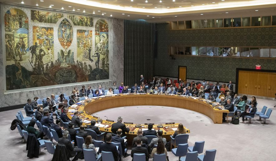 The UN Security Council holds a meeting on the Middle East, including the Palestinian question, Wednesday, Nov. 20, 2019 at United Nations headquarters. (AP Photo/Mary Altaffer)