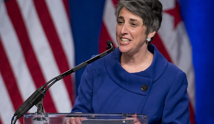 At-Large Councilmember Elissa Silverman speaks during the 2015 District of Columbia Inauguration ceremony at the Convention Center in Washington, Friday, Jan. 2, 2015. (AP Photo/Carolyn Kaster)  **FiLE**