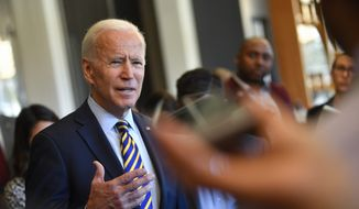 Former Vice President and 2020 Democratic presidential candidate Joe Biden speaks to the media before meeting with an assembly of Southern black mayors Thursday, Nov. 21, 2019 in Atlanta. (AP Photo/John Amis)