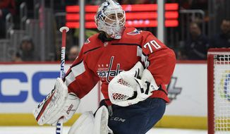 Washington Capitals goaltender Braden Holtby (70) stands on the ice during the first period of an NHL hockey game against the Anaheim Ducks, Monday, Nov. 18, 2019, in Washington. (AP Photo/Nick Wass) ** FILE **