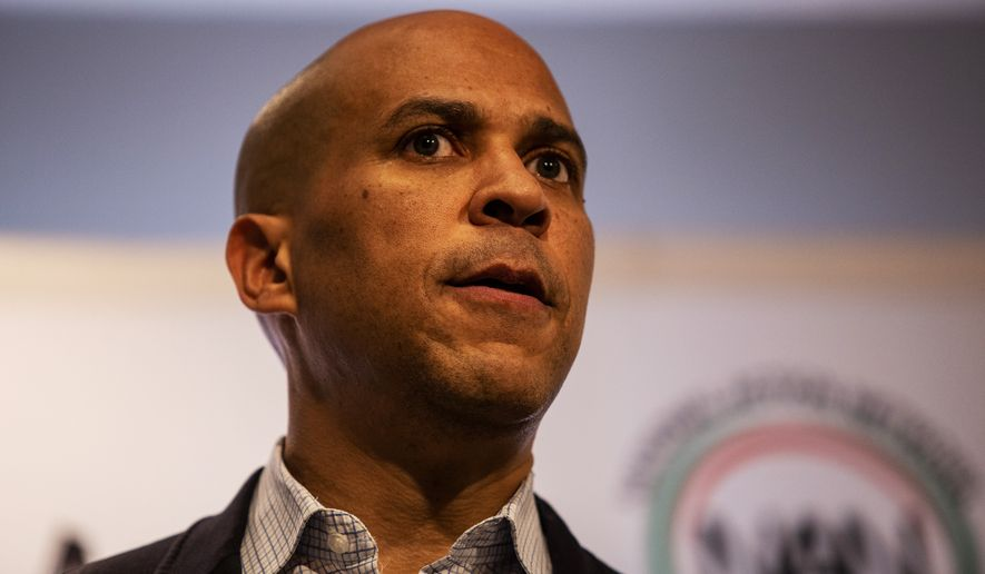 Cory Booker speaks Thursday, Nov. 21, 2019, in Atlanta. Booker, along with Pete Buttigieg, Amy Klobuchar, Andrew Yang and Tom Steyer, all presidential hopefuls, spoke at the breakfast event hosted by the Rev. Al Sharpton's National Action Network. (AP Photo/ Ron Harris) ** FILE **
