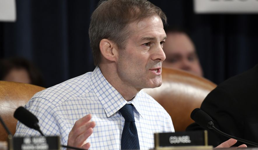 Rep. Jim Jordan, R-Ohio, questions David Holmes, a U.S. diplomat in Ukraine, as he testifies before the House Intelligence Committee on Capitol Hill in Washington, Thursday, Nov. 21, 2019, during a public impeachment hearing of President Donald Trump's efforts to tie U.S. aid for Ukraine to investigations of his political opponents.(AP Photo/Susan Walsh)