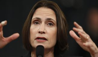 Former White House national security aide Fiona Hill, testifies before the House Intelligence Committee on Capitol Hill in Washington, Thursday, Nov. 21, 2019, during a public impeachment hearing of President Donald Trump's efforts to tie U.S. aid for Ukraine to investigations of his political opponents. (AP Photo/Andrew Harnik)