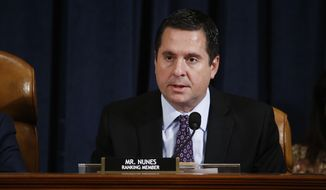 Ranking member Rep. Devin Nunes of Calif., of the House Intelligence Committee on Capitol Hill in Washington, Thursday, Nov. 21, 2019, during a public impeachment hearing of President Donald Trump's efforts to tie U.S. aid for Ukraine to investigations of his political opponents. (Andrew Harrer/Pool via AP) ** FILE **