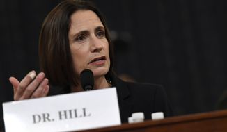 Former White House national security aide Fiona Hill testifies before the House Intelligence Committee on Capitol Hill in Washington, Thursday, Nov. 21, 2019, during a public impeachment hearing of President Donald Trump's efforts to tie U.S. aid for Ukraine to investigations of his political opponents.(AP Photo/Susan Walsh)
